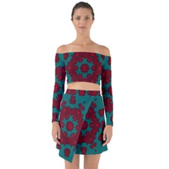 Cherry-blossom Mandala Of Sakura Branches Off Shoulder Top With Skirt Set by pepitasart