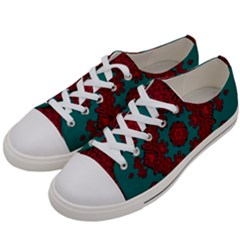 Cherry-blossom Mandala Of Sakura Branches Women s Low Top Canvas Sneakers by pepitasart