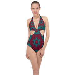 Cherry-blossom Mandala Of Sakura Branches Halter Front Plunge Swimsuit by pepitasart