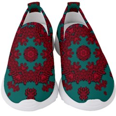 Cherry-blossom Mandala Of Sakura Branches Kids  Slip On Sneakers by pepitasart