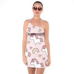 Cute-unicorn-rainbow-seamless-pattern-background One Soulder Bodycon Dress