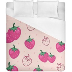 Seamless-strawberry-fruit-pattern-background Duvet Cover (california King Size)
