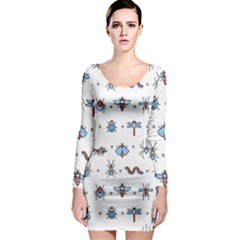 Insects-icons-square-seamless-pattern Long Sleeve Bodycon Dress