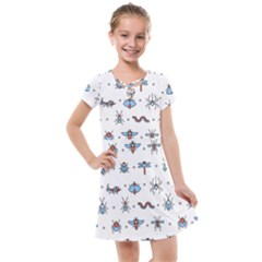 Insects-icons-square-seamless-pattern Kids  Cross Web Dress