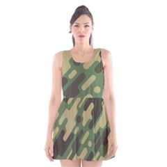 Camouflage-pattern-background Scoop Neck Skater Dress
