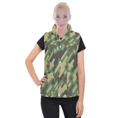Camouflage-pattern-background Women s Button Up Vest