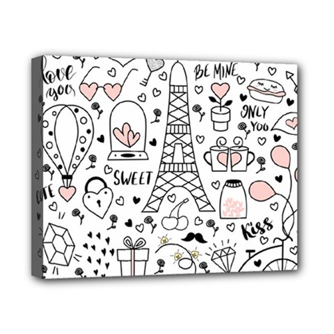 Big-collection-with-hand-drawn-objects-valentines-day Canvas 10  X 8  (stretched)