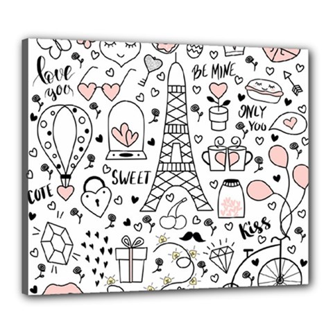 Big-collection-with-hand-drawn-objects-valentines-day Canvas 24  X 20  (stretched)