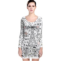 Big-collection-with-hand-drawn-objects-valentines-day Long Sleeve Bodycon Dress