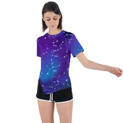 Realistic-night-sky-poster-with-constellations Asymmetrical Short Sleeve Sports Tee