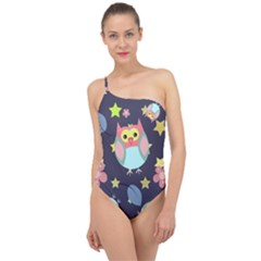 Owl Stars Pattern Background Classic One Shoulder Swimsuit