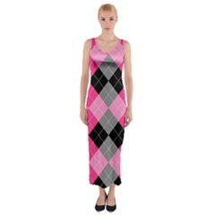 Seamless-argyle-pattern Fitted Maxi Dress by Vaneshart