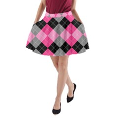 Seamless-argyle-pattern A-line Pocket Skirt by Vaneshart