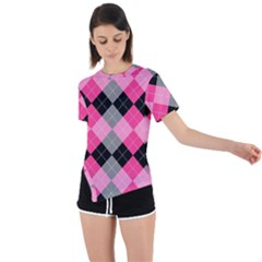 Seamless-argyle-pattern Asymmetrical Short Sleeve Sports Tee