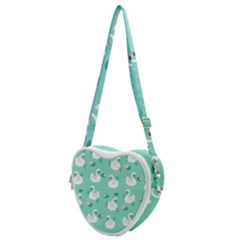 Elegant-swan-seamless-pattern Heart Shoulder Bag