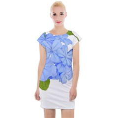 Botanical Floral Print Stylized Photo Cap Sleeve Bodycon Dress