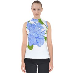 Botanical Floral Print Stylized Photo Mock Neck Shell Top