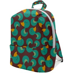 Vector-illustration-seamless-pattern-with-cartoon-duck Zip Up Backpack