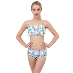 Penguins Pattern Layered Top Bikini Set