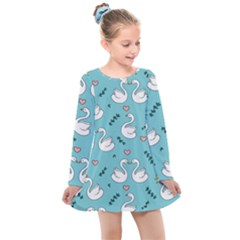 Elegant-swan-pattern-design Kids  Long Sleeve Dress