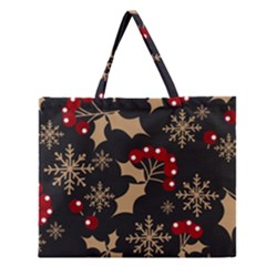 Christmas Pattern With Snowflakes Berries Zipper Large Tote Bag