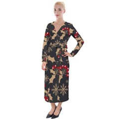 Christmas Pattern With Snowflakes Berries Velvet Maxi Wrap Dress