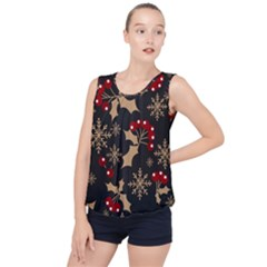 Christmas Pattern With Snowflakes Berries Bubble Hem Chiffon Tank Top