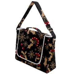 Christmas Pattern With Snowflakes Berries Box Up Messenger Bag