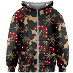 Christmas Pattern With Snowflakes Berries Kids  Zipper Hoodie Without Drawstring by Vaneshart