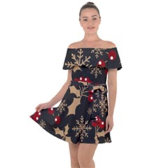 Christmas Pattern With Snowflakes Berries Off Shoulder Velour Dress by Vaneshart