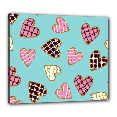 Seamless Pattern With Heart Shaped Cookies With Sugar Icing Canvas 24  X 20  (stretched)