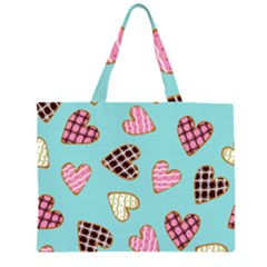 Seamless Pattern With Heart Shaped Cookies With Sugar Icing Zipper Large Tote Bag
