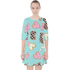 Seamless Pattern With Heart Shaped Cookies With Sugar Icing Pocket Dress
