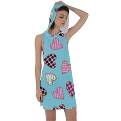 Seamless Pattern With Heart Shaped Cookies With Sugar Icing Racer Back Hoodie Dress
