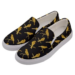 Background With Golden Birds Men s Canvas Slip Ons by Vaneshart