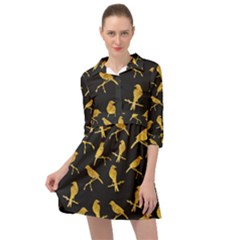 Background With Golden Birds Mini Skater Shirt Dress by Vaneshart