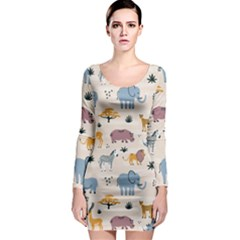 Wild Animals Seamless Pattern Long Sleeve Bodycon Dress by Vaneshart