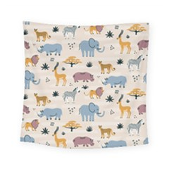 Wild Animals Seamless Pattern Square Tapestry (small) by Vaneshart
