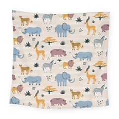 Wild Animals Seamless Pattern Square Tapestry (large)