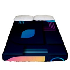 Gradient Geometric Shapes Dark Background Fitted Sheet (queen Size)