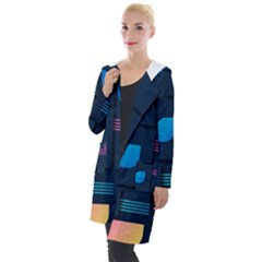 Gradient Geometric Shapes Dark Background Hooded Pocket Cardigan