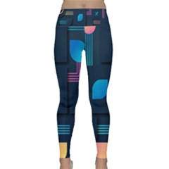 Gradient Geometric Shapes Dark Background Lightweight Velour Classic Yoga Leggings