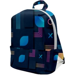 Gradient Geometric Shapes Dark Background Zip Up Backpack
