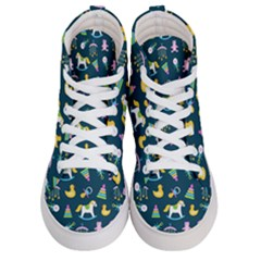 Cute Babies Toys Seamless Pattern Men s Hi-top Skate Sneakers