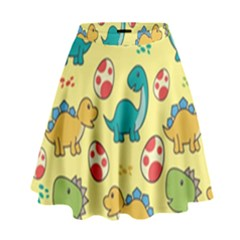 Seamless Pattern With Cute Dinosaurs Character High Waist Skirt by Vaneshart