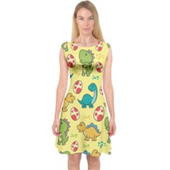 Seamless Pattern With Cute Dinosaurs Character Capsleeve Midi Dress