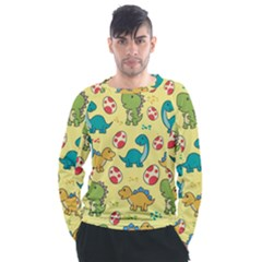 Seamless Pattern With Cute Dinosaurs Character Men s Long Sleeve Raglan Tee