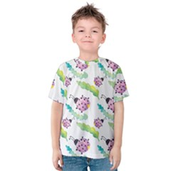 Watercolor Pattern With Lady Bug Kids  Cotton Tee