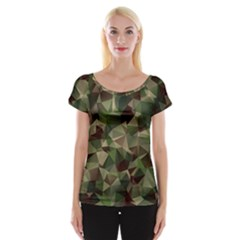 Abstract Vector Military Camouflage Background Cap Sleeve Top