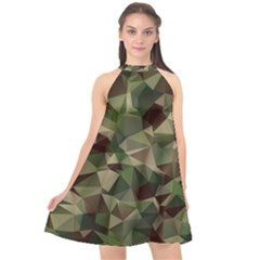 Abstract Vector Military Camouflage Background Halter Neckline Chiffon Dress